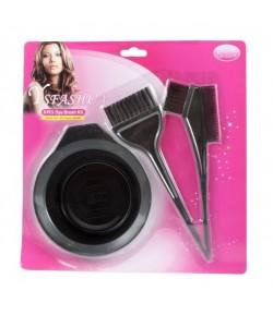 Zestaw do farbowania włosów:  miska + 3 pędzle do nakładania farb