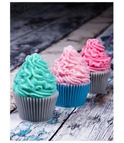 Mydło glicerynowe - Muffinka różowo - ecru - LaQ 165 g