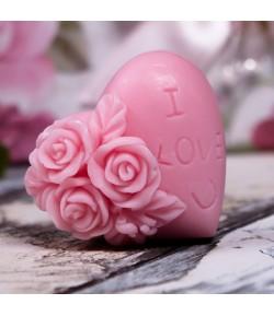 Mydło glicerynowe - Serduszko I love U - różowe - LaQ 50 g