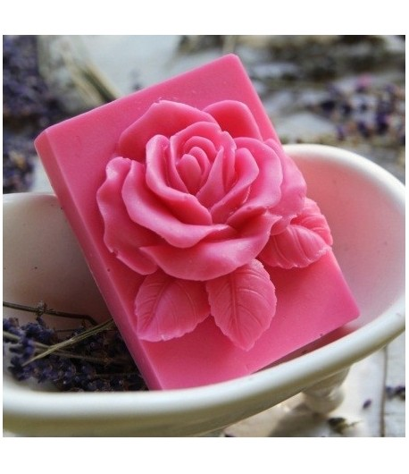 Mydło glicerynowe - Róża w prostokacie - różowa - LaQ 90 g