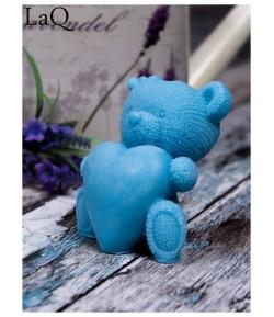 Mydło glicerynowe - Duży Miś z sercem - niebieski - LaQ 120 g