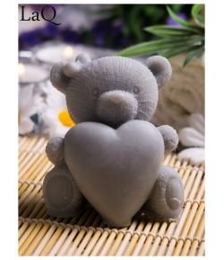 Mydło glicerynowe - Duży Miś z sercem - szary - LaQ 50 g