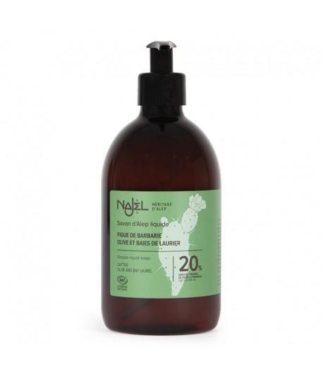 Mydło ALEPPO w Płynie - 20% Olejku Laurowego BIO z olejem z Opuncji FIgowej - NAJEL 500 ml