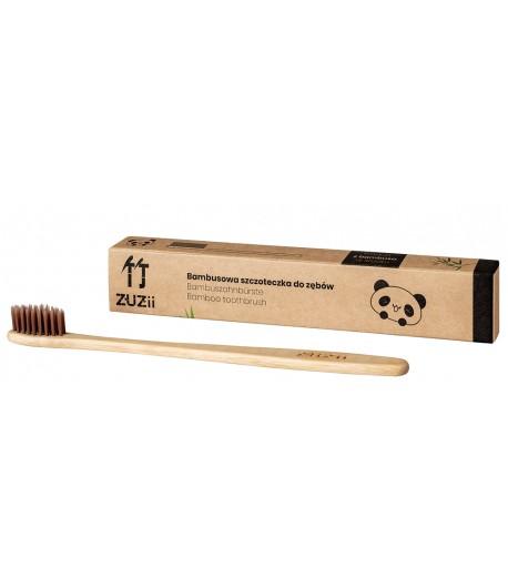 Bambusowa szczoteczka do zębów dla dorosłych - kolor brązowy - Zuzii