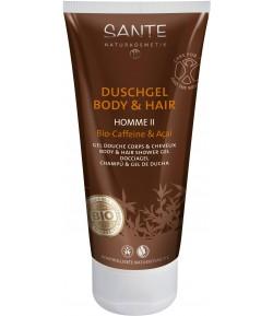 Żel pod prysznic do ciała i włosów z bio-kofeiną i acai 2w1 HOMME II - Sante 200 ml