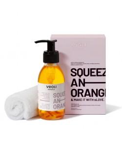 Olejek 2w1 do demakijażu i masażu twarzy z kawałkami pomarańczy SQUEEZE AN ORANGE - veoli botanica 132,7g