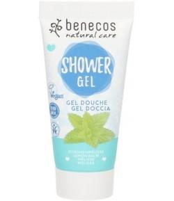 Odświeżający żel pod prysznic z melisą Mini - Benecos 30 ml