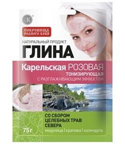 Karelska glinka kosmetyczna - różowa z ziołami - Fitokosmetik 75g